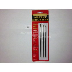 3 Pc. Artist Paint Brushes-Finest Red Sable Hair 12/144 case