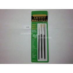 3 Pc. Artist Paint Brushes-White Bristle Hair 12/144 case