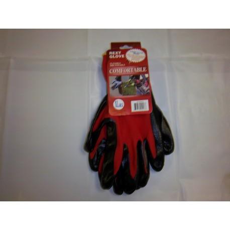 Red Polyester Work Gloves Nitrile Coated 12/120/Case