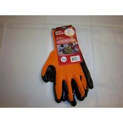 Neon Orange Polyester Work Gloves Nitrile Coated 12/120/Case